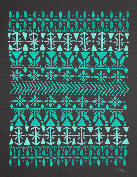 Norwegian Pattern – Aqua on Charcoal available  here .