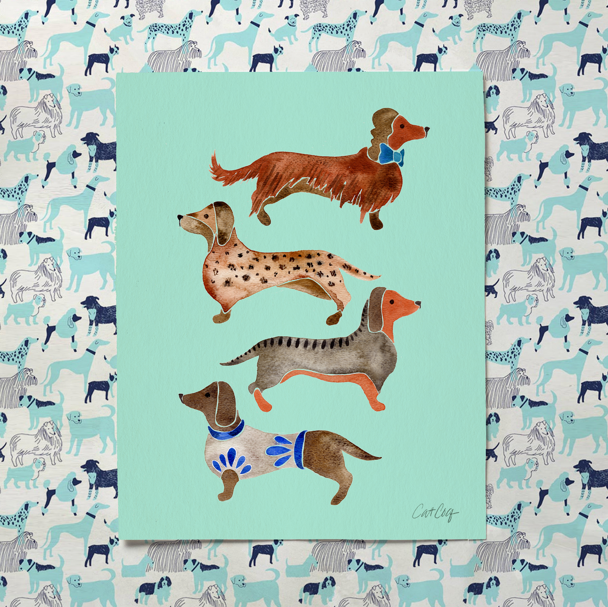 Dachshunds art print available  here .