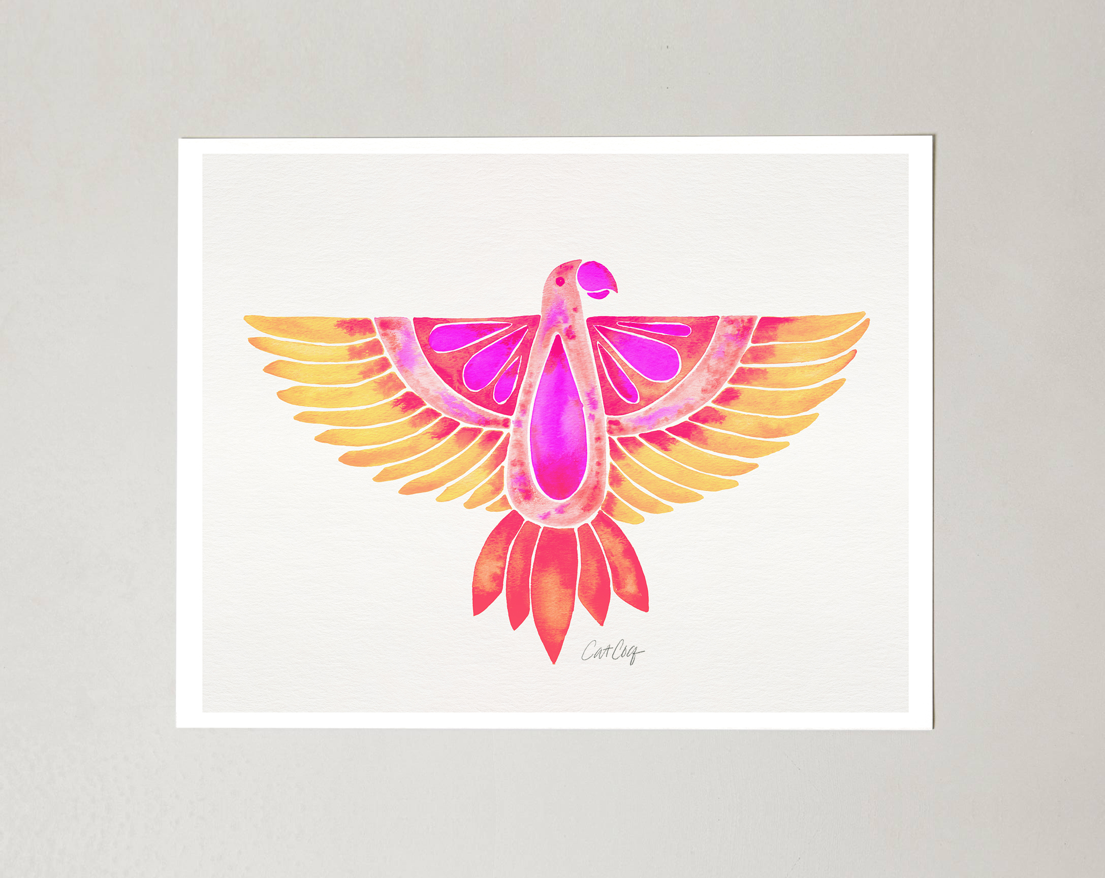 Pink Ombré Parrot art print available  here .