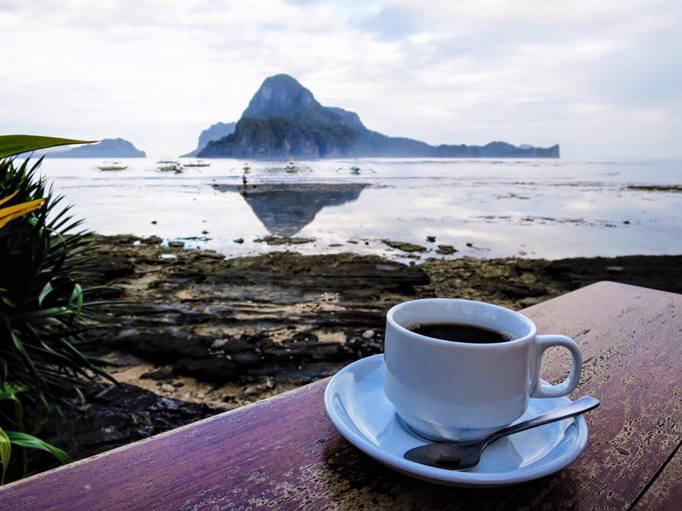 My last coffee photo was overlooking the mountain town of Banaue in central Luzon. Now I'm on Palawan overlooking Cadlao Island in the South China Sea.