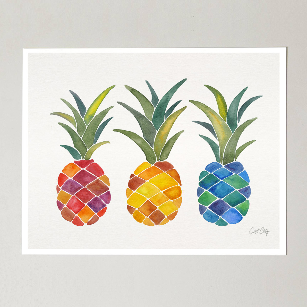 Pineapple Watercolor Art Print   •  Etsy