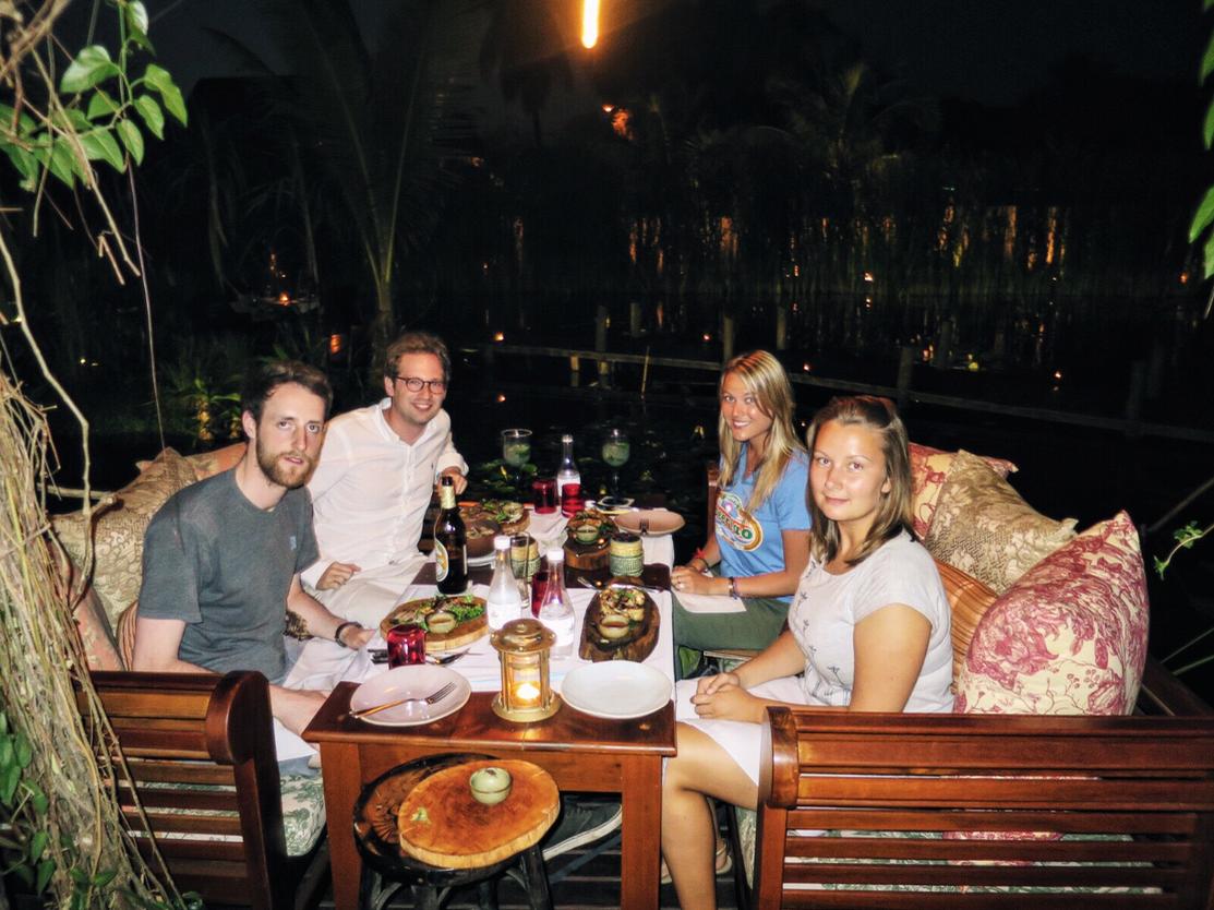 "Our ""fancy as fuck"" dinner in Laotian water gardens."