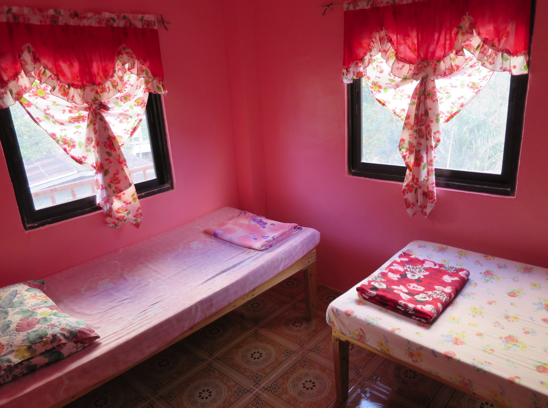 Our honeymoon suite. We got the pink room since we are girls.