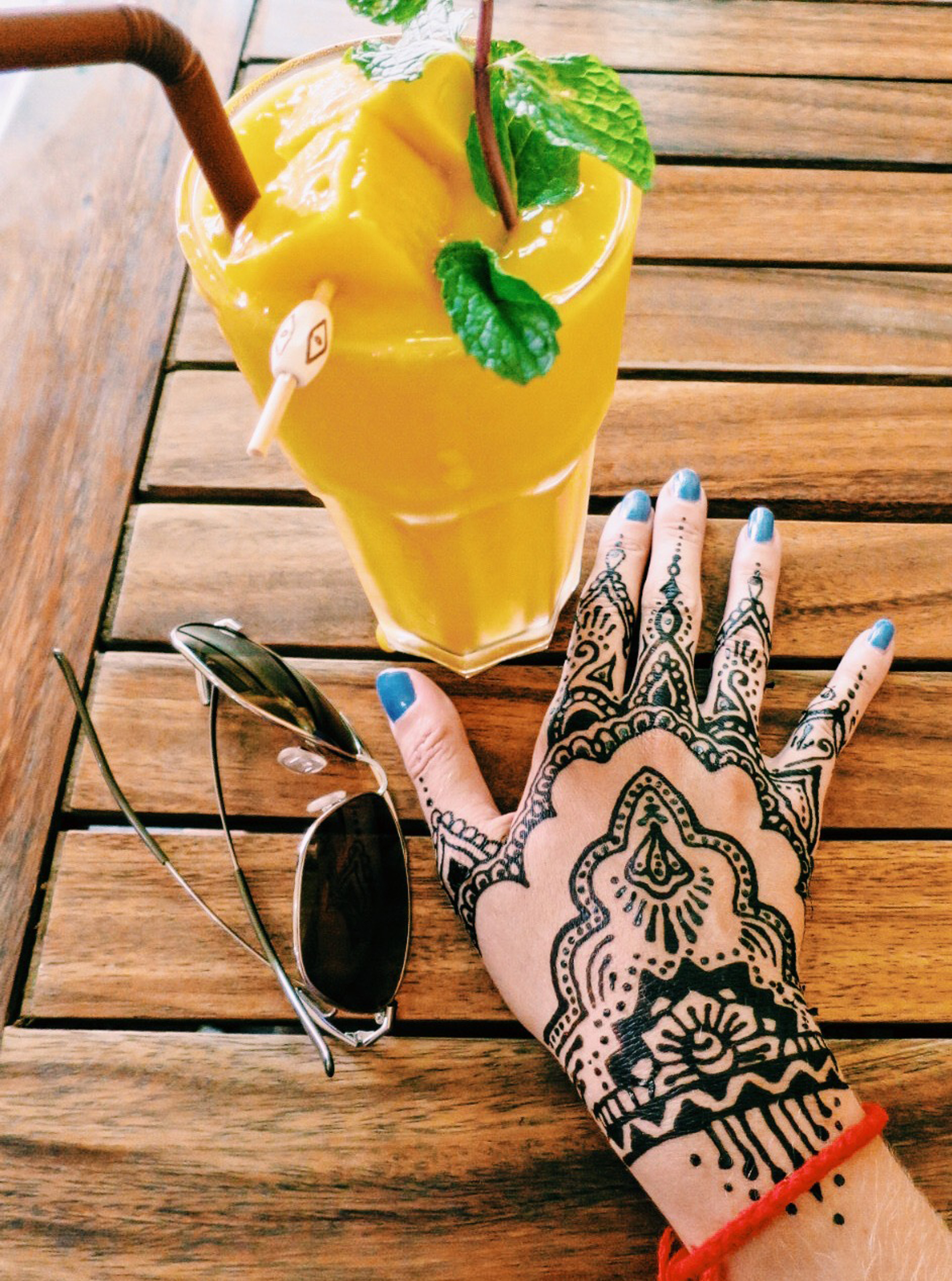 It also matched all the mango smoothies I gulped down every day. Side note: I went a little overboard with the henna in Thailand.