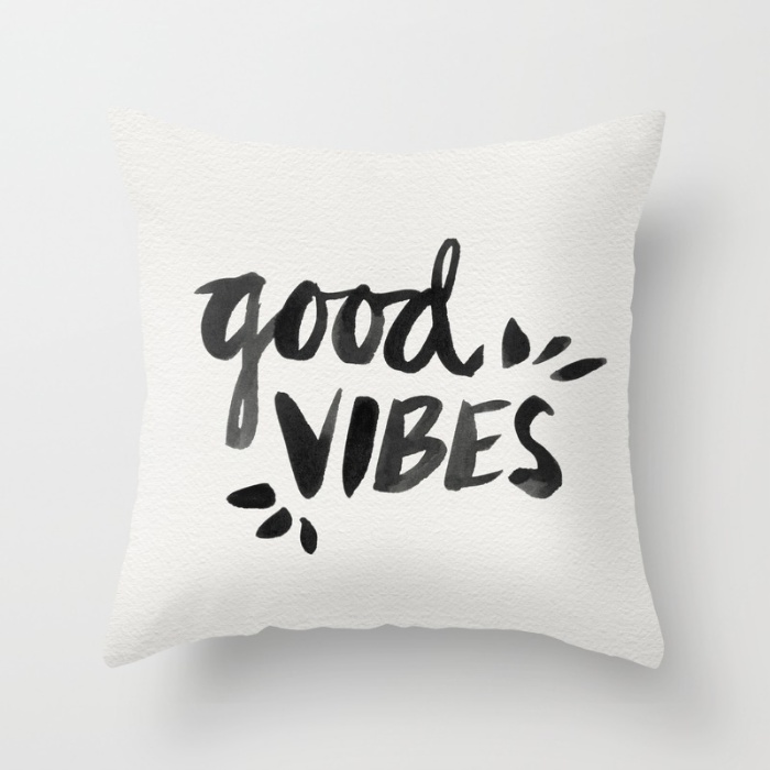 Good Vibes – Black Ink / Throw Pillow • $20–$35
