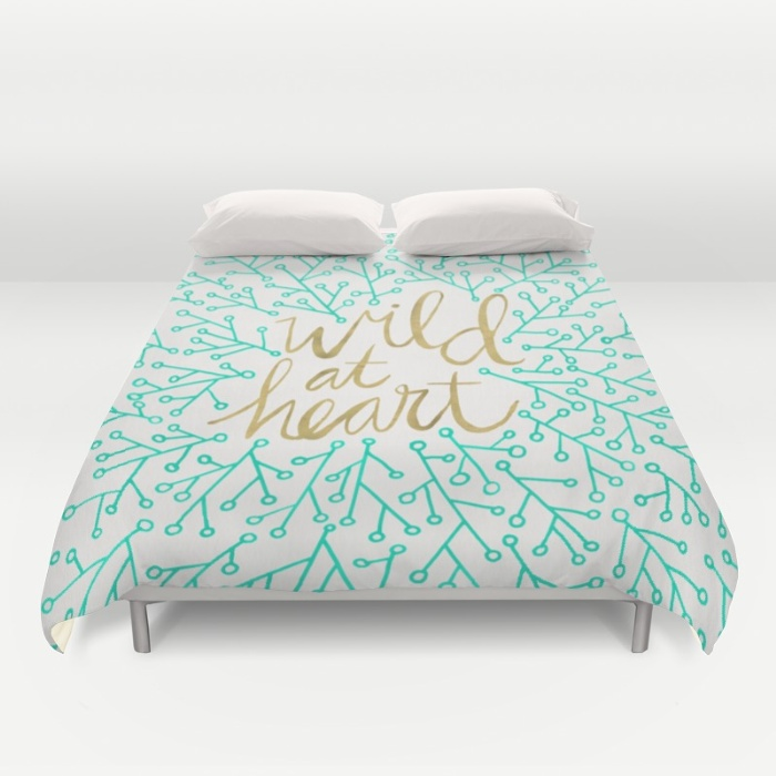 Wild at Heart – Turquoise & Gold / Duvet Cover • $89–$129