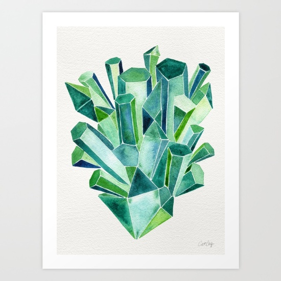 Emerald Watercolor•  art print $18–$64