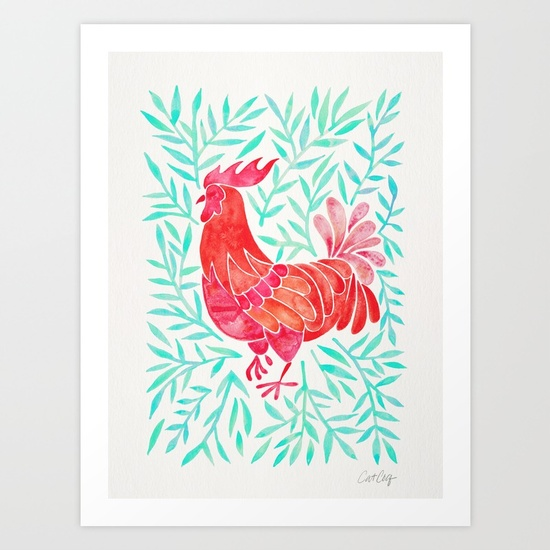 le-coq-watercolor-rooster-with-mint-leaves-prints.jpg