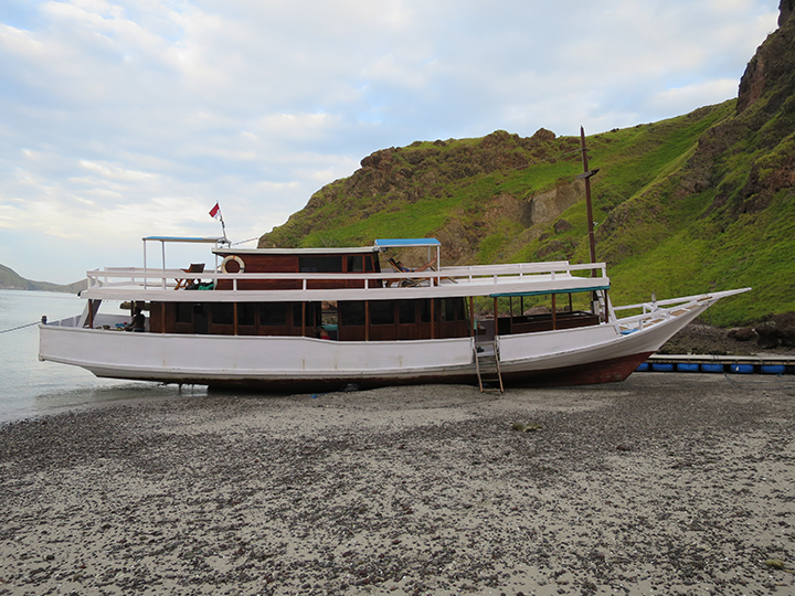 Our sad ship. 😂 This is the reason we spent the whole night (instead of an hour) on Padar Island.