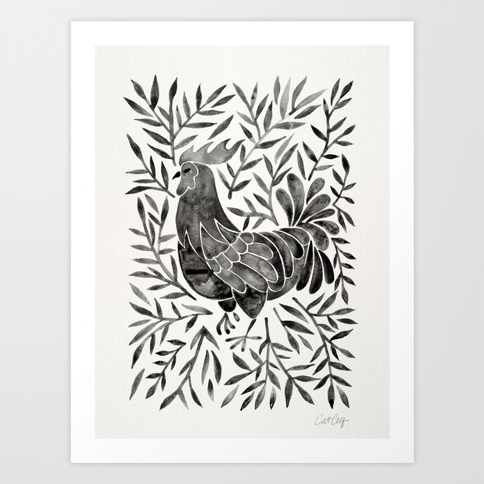 le-coq-watercolor-rooster-with-black-leaves-prints.jpg