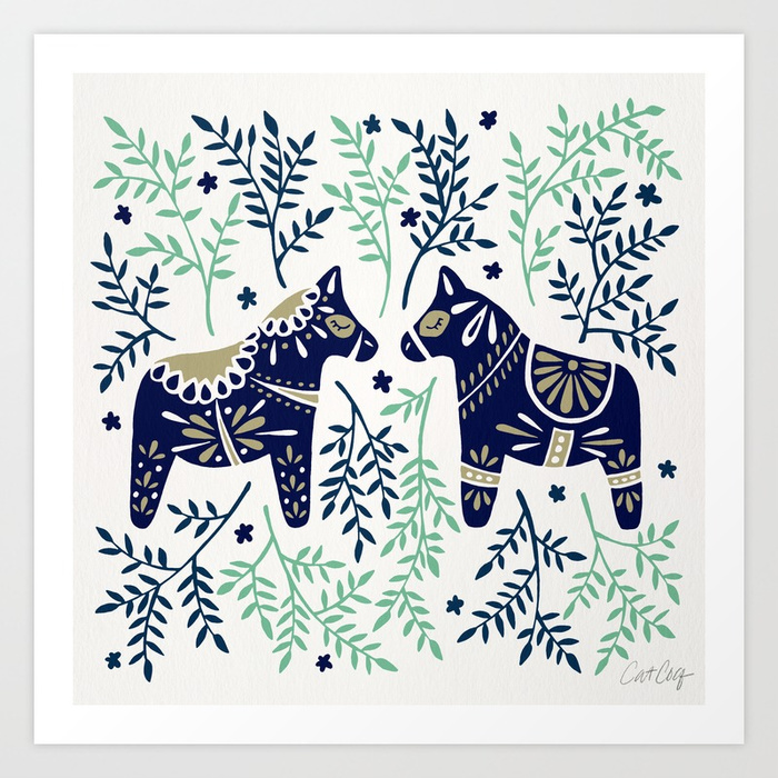 swedish-dala-horse-navy-mint-palette-prints.jpg
