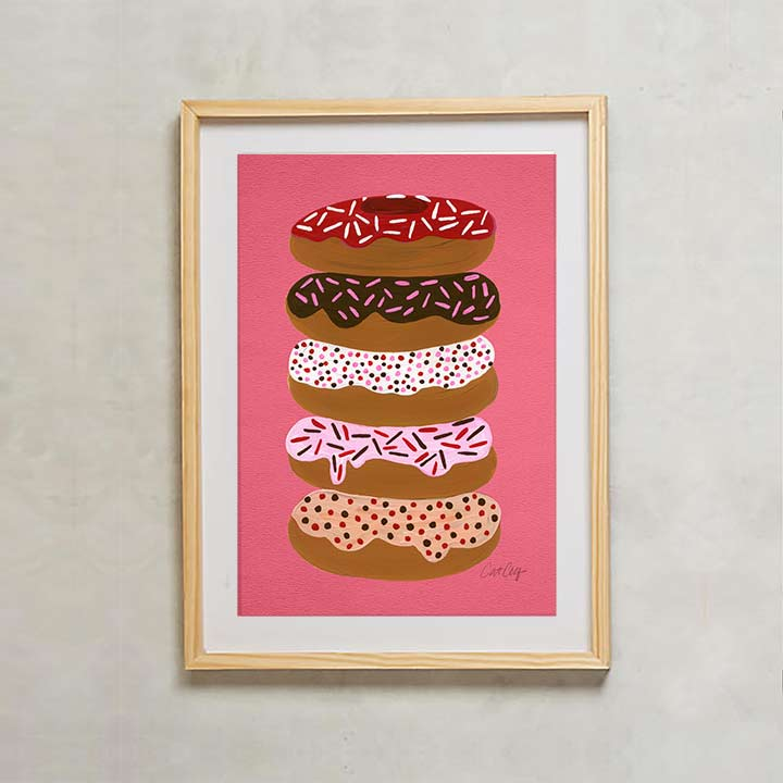 PinkDonutstacked-WoodFrame.jpg