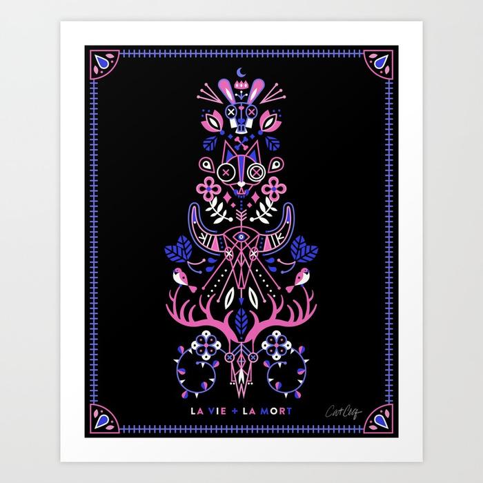 la-vie-la-mort-pink-periwinkle-on-black-prints.jpg