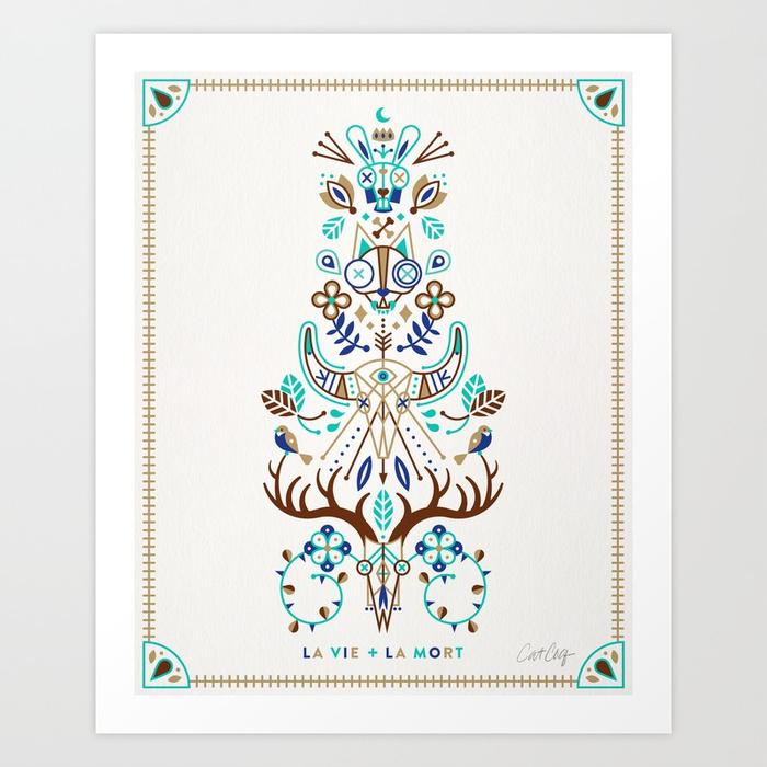 la-vie--la-mort--turquoise-and-brown-prints.jpg