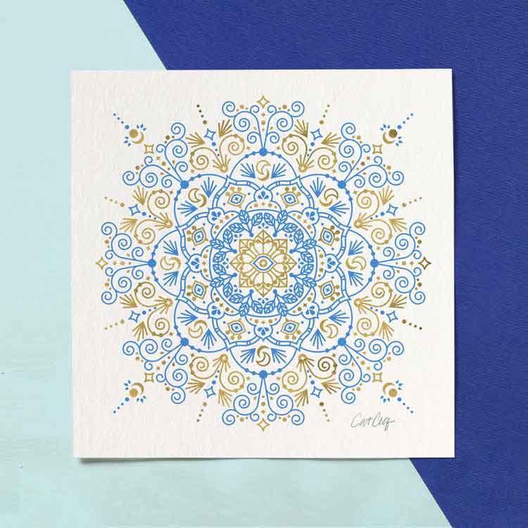 Moroccan Mandala – Blue & Gold Palette    – Starting at $20