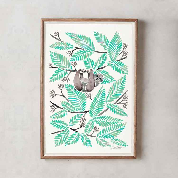 Happy Sloth • Art Print     – Starting at $20