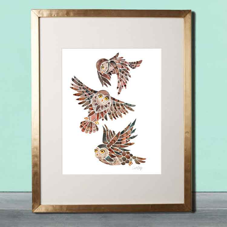 Owls in Flight • Art Print    – Starting at $20