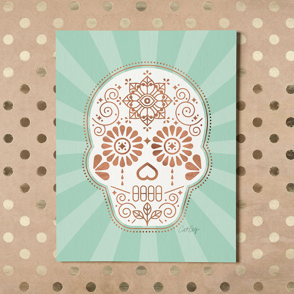 SugarSkull-Mint-GoldDots.jpg