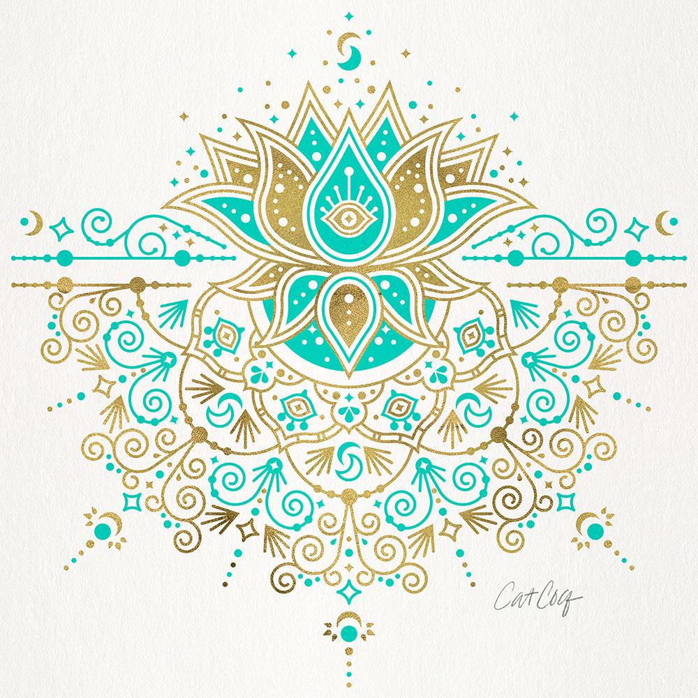 TurquoiseGold-LotusBlossomMandala-tote.jpg