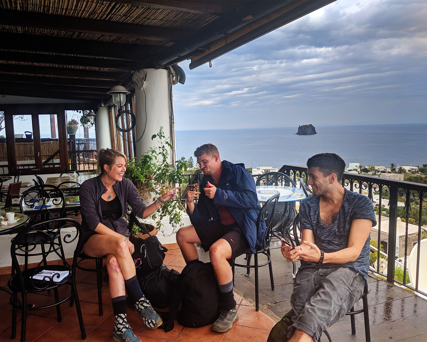 Prepping our bodies with espresso and cigars before our hike. Power supplements.
