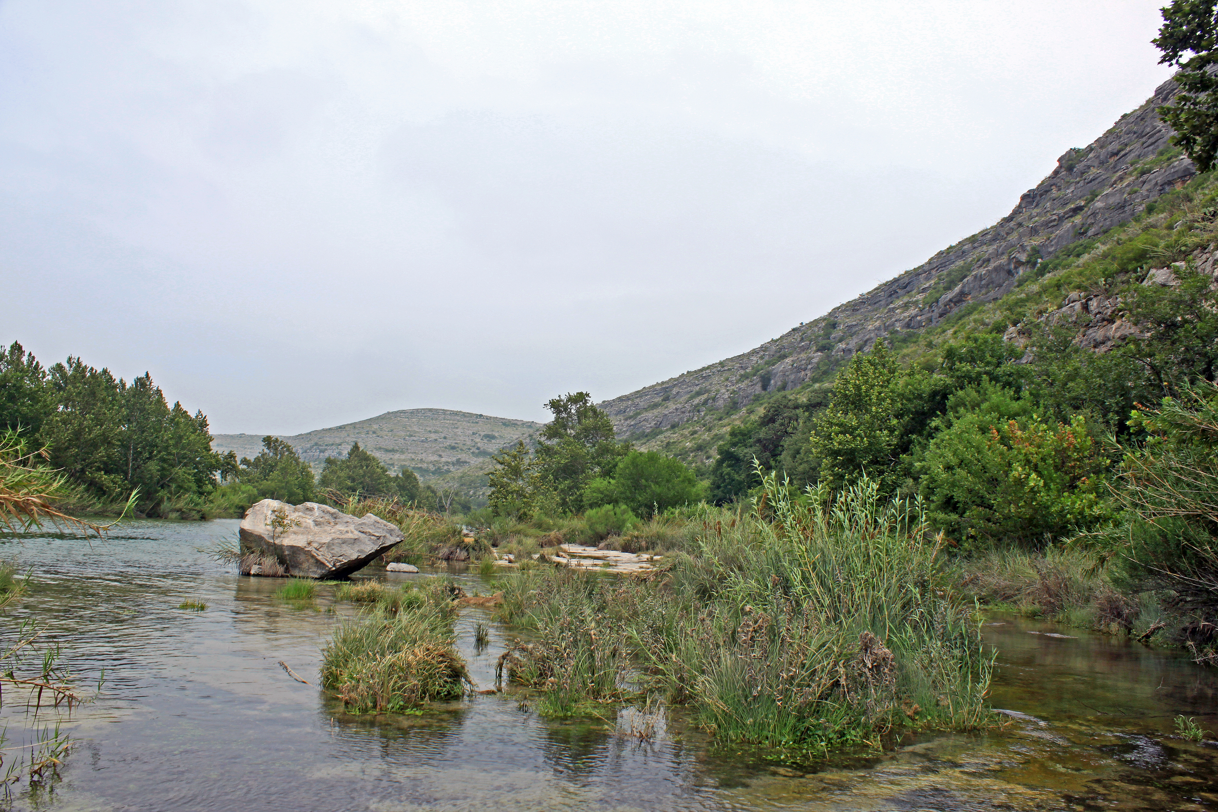 Devils River scenery by a section of rapids.