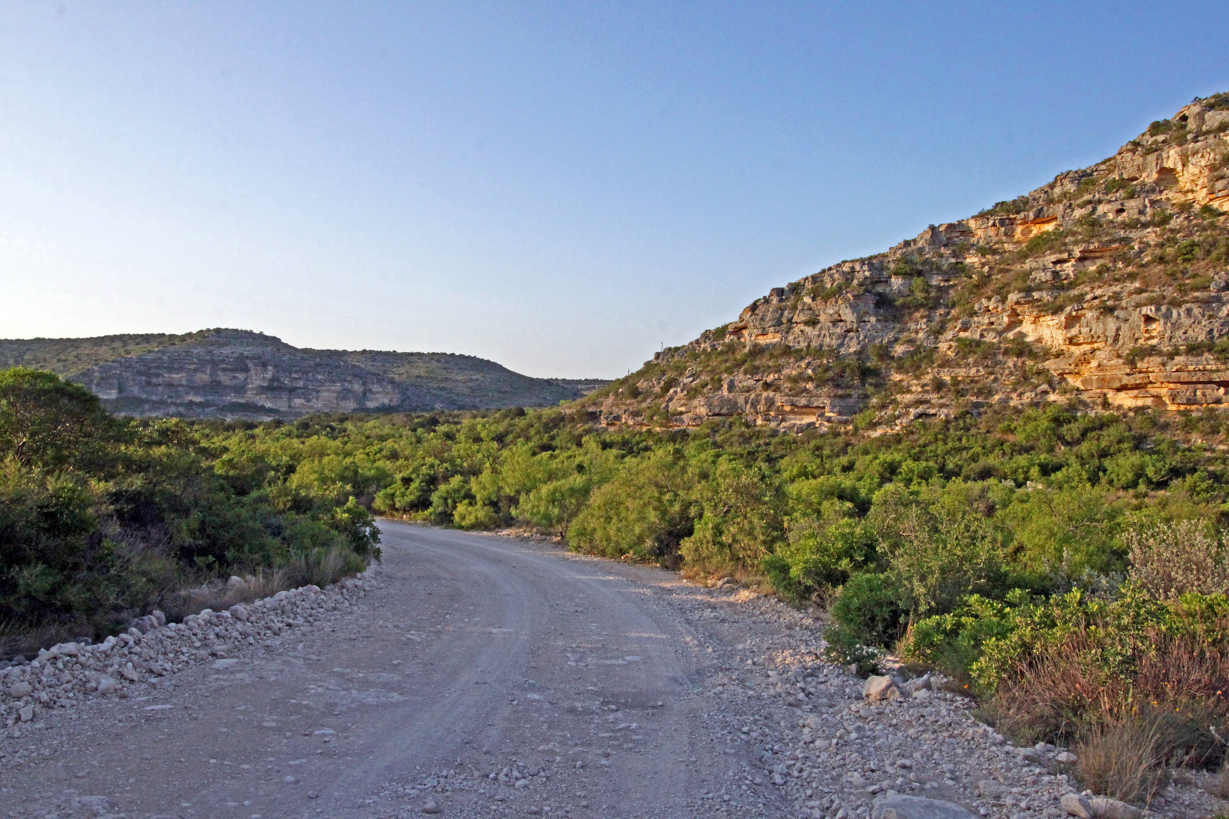 If you visit the Devils River State Natural Area, you will have to hike 0.9 miles to the banks of the river on a gravel road. Don't forget, you will have to hike with your kayak too.