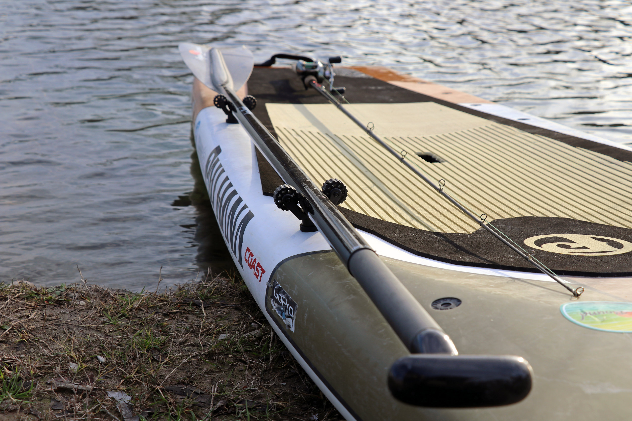 The Pau Hana Endurance is a unique SUP that offers multiple threaded inserts to attached paddle holders, rod holders, cup holders, GoPro mounts, etc.