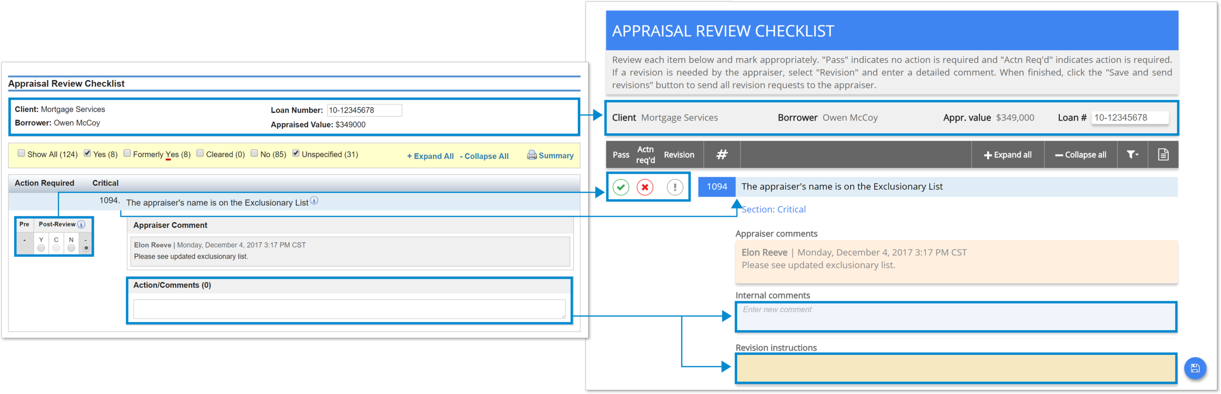 Click to see a larger view of the current and new checklist versions.