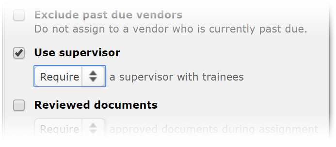 The new criteria in  Vendor Selection Settings