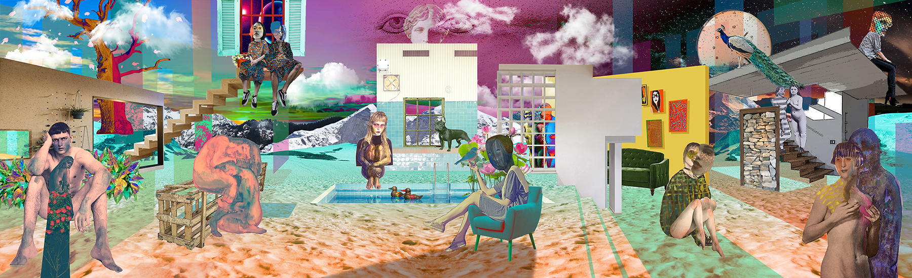 """Day to Day,   29""""x95"""", Digital print on fabric, 2018"""