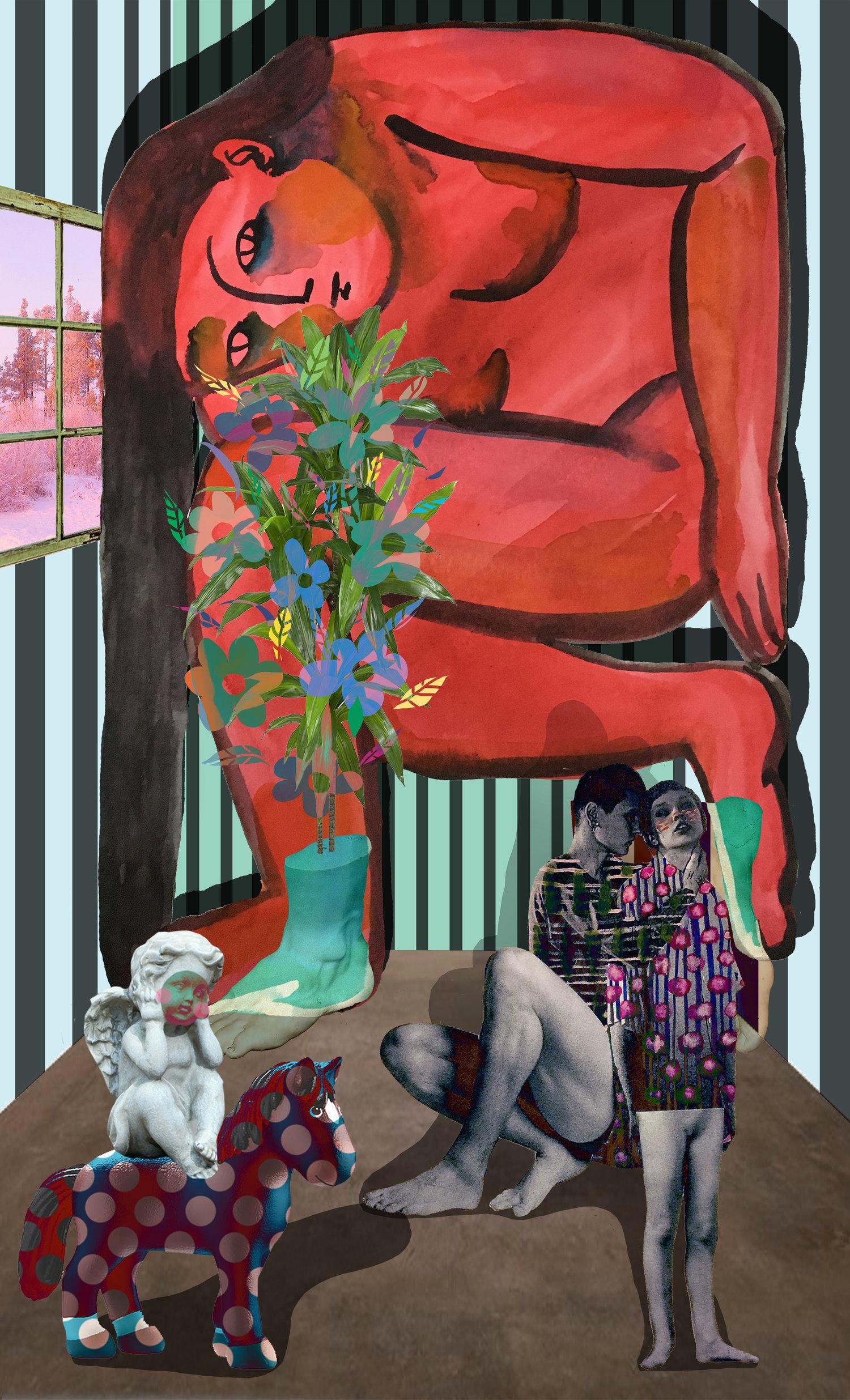 """Roommate,   42""""x 25.5"""", Digital print on fabric, 2018"""
