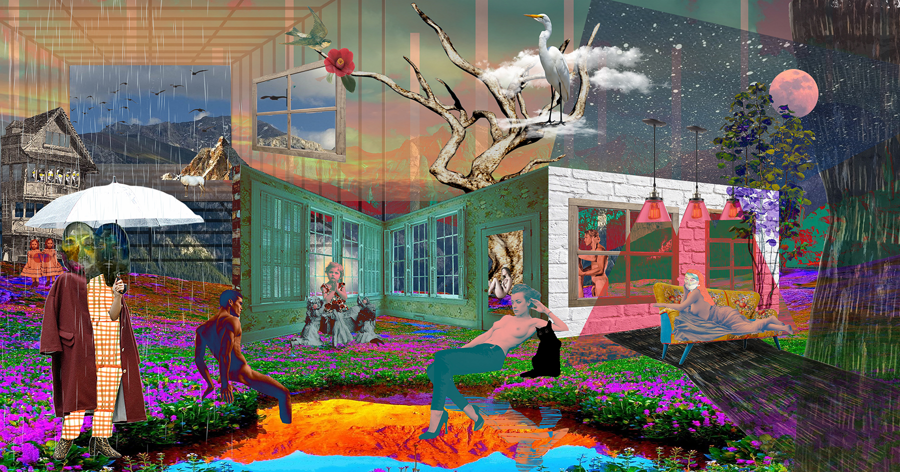 "Flower Road,   43""x 82"", Digital print on fabric, 2018"