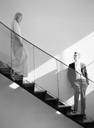 Fine Art Film Engagement Shoot in Austin TX, Couple on Stairs, Black and White Film,  BW Theory