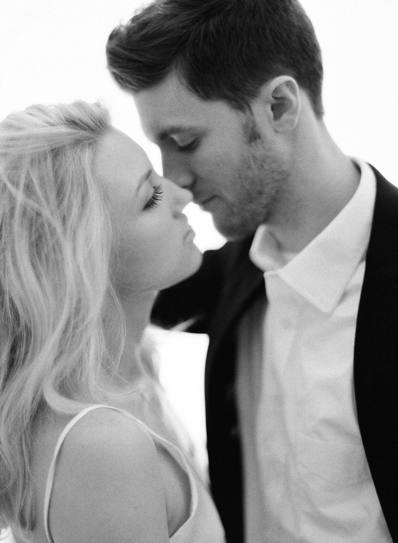 Fine Art Film Engagement Shoot in Austin TX, Kissing Couple