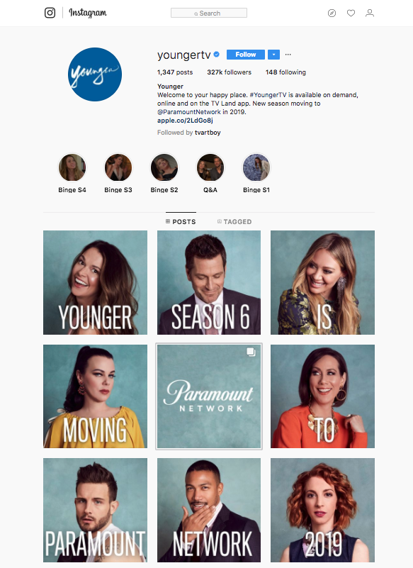 "Younger ""New Season, New Network"" Announcement  Instagram Graphics/Layout"
