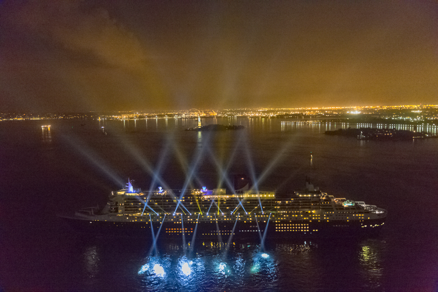 Forever Cunard Nighttime Spectacular on Queen Mary 2 in New York Harbor