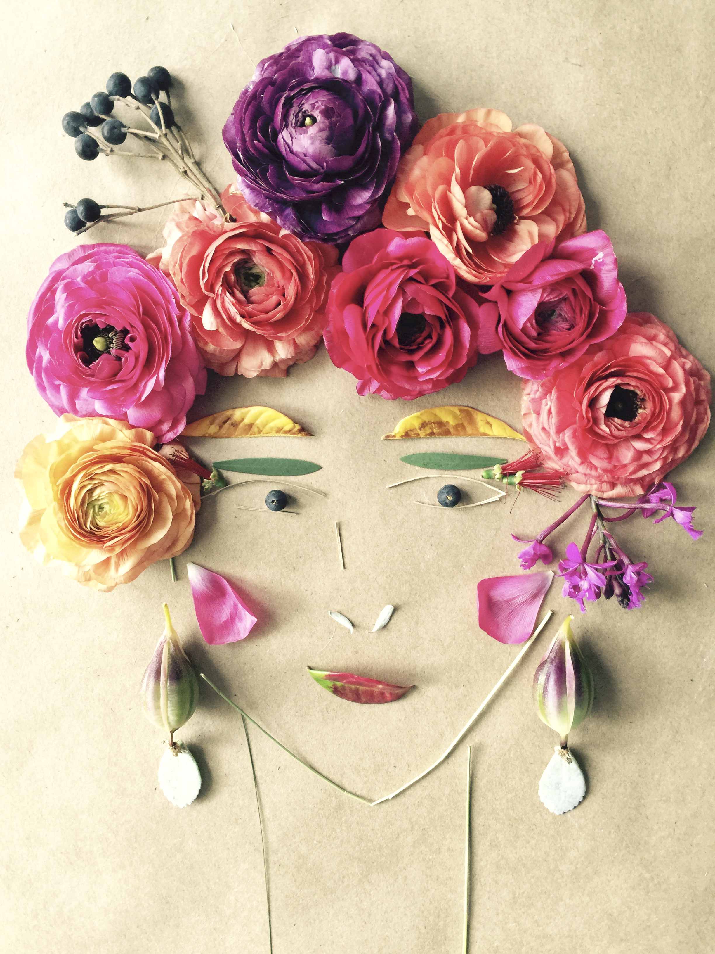 Michelle Larson   - A little whimsy from my playful side. After visiting the flower fields in Carlsbad, California this past weekend, I used the sherbet colored ranunculus and other foliage finds from around my neighborhood to create BLOSSOM. That's her name. Isn't she pretty?! What fun!!