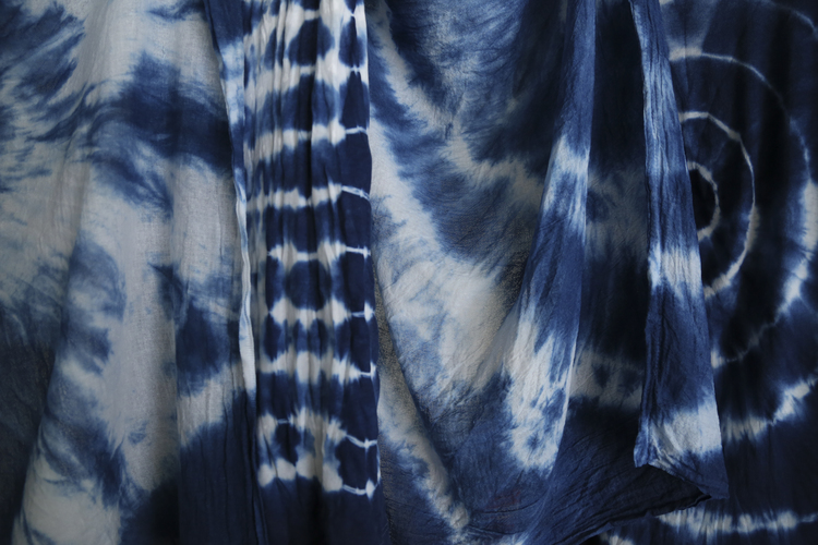 Michelle Larson   - I had so much fun with Susan Shepardson experimenting with indigo blue dye using the shibori technique. These are the results... : )