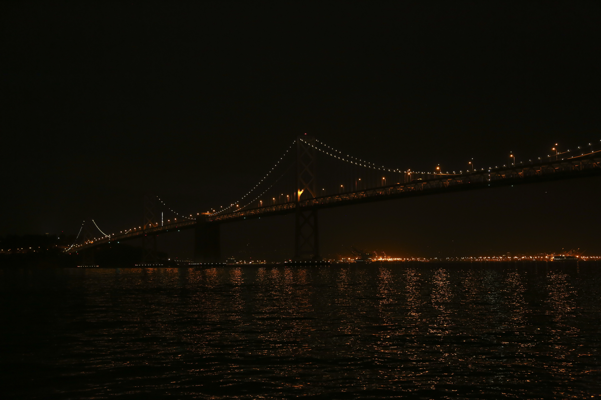 Michelle Larson    - A December night in San Francisco… all is festive, sparkly and bright. The lights from the Bay Bridge reflect and dance on the water below… feeling romantic as we walk hand-in-hand to enjoy dinner with a view.