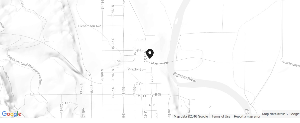We are located at 314 West E Street in Basin, Wyoming.