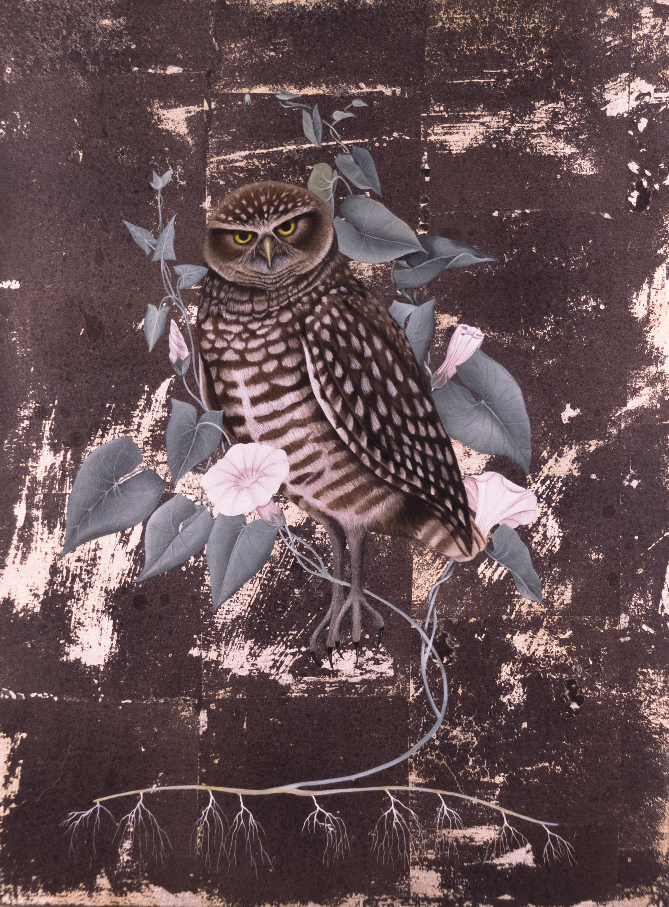 Marsha Kennedy,  Burrowing Owl with Invasive Field Bindweed , Oils, silver leaf, birch panel, 16 x 12 inches, 2017