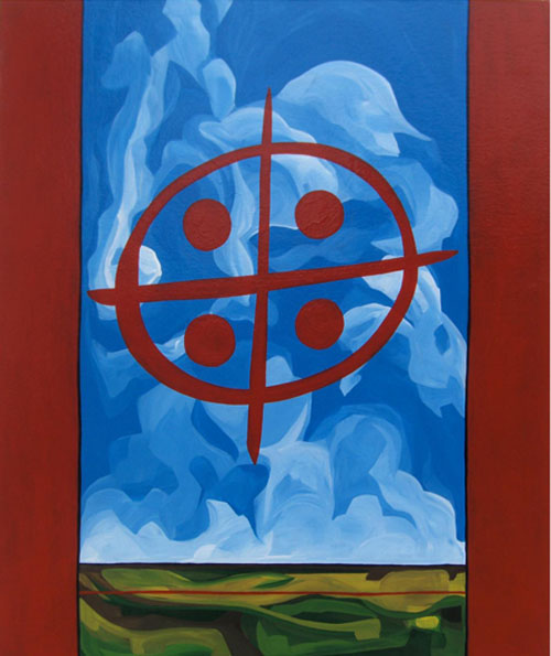 "Michel Boutin, ""Whole Earth"", 2009, enamel on canvas, 36 x 30 in."