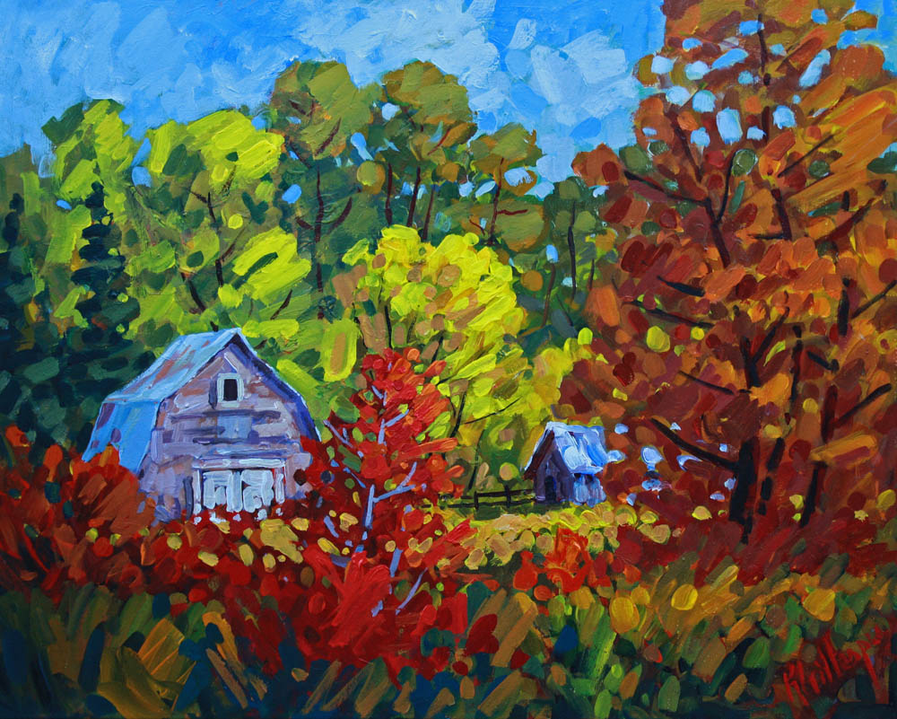 Ken Gillespie, Red Bush in Fall, 24 x 30 inches