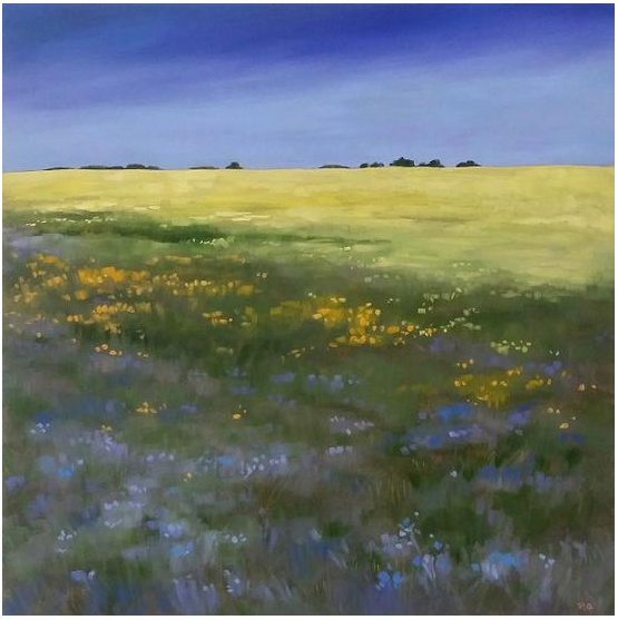 Flax Up Front, Painting Oil on Panel, 20 x 20 in, Framed, CAD 1,110.00