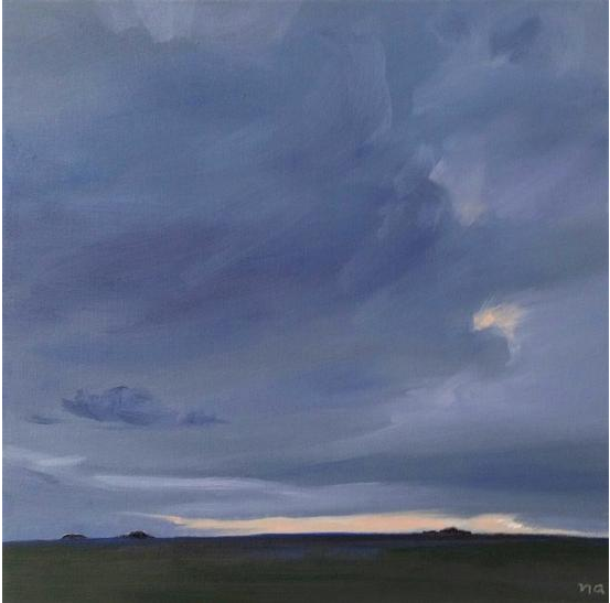 Overcast at Sunset, Painting Oil on Panel, 10 x 10 in, Framed, CAD 530.00