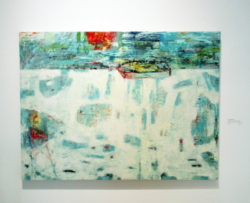 "Series RITES OF PASSAGE- Breaking Loose / Libération by Anne Brochu Lambert. Oils, cold wax, aluminum foil, pastels, graphite on birch wood panel, 36 x 48""."