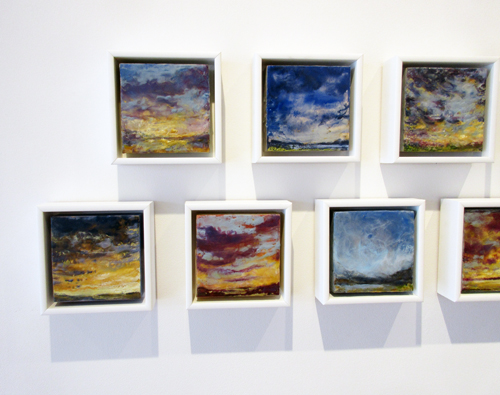 "Little Sky Studies by Kathy Bradshaw. Oil encaustic, oil sticks & metallic powder on cradled panel, 8 x 8"" each"
