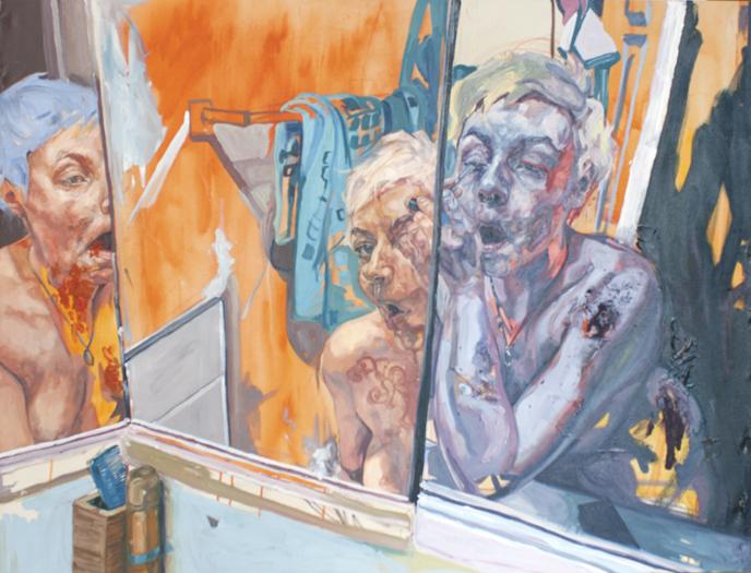 "Riisa Gundesen, ""Woman at her Toilette"", RG002 2018, Oil on canvas, 41 1/4"" x 53"", $2,000.00 Unframed CDN (+ taxes)"