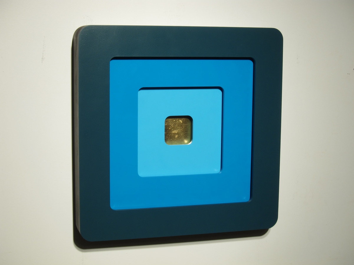 "Zane Wilcox, ""Twilight"", wood, paint, gold, 70 H x 70 W x 12 D c,"