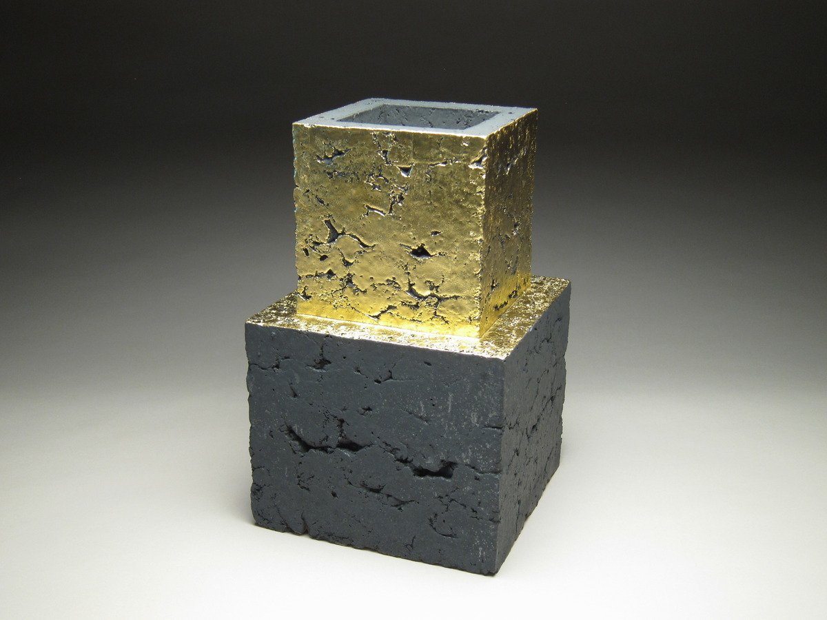"Zane Wilcox, ""Ziggurat 2.17"", reduction fired stoneware, copper, gold, 33 H x 20 W x 20 D cm"